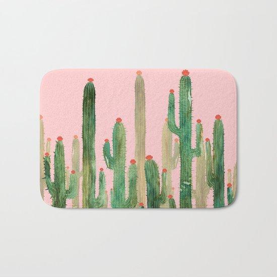Cactus Four on Pink Bath Mat