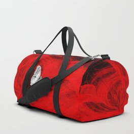 Silver butterfly emerging from the red depths Duffle Bag