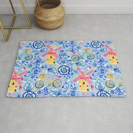 Netherlands Whimsy on Blue Rug