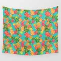 pineapples Wall Tapestries featuring Pineapples by Laura Barnes