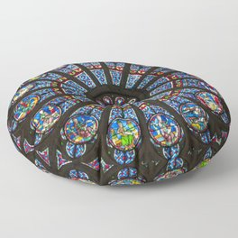 STAINED GLASS Notre Dame Cathedral Paris France Floor Pillow