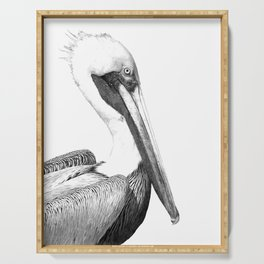 Black and White Pelican Serving Tray
