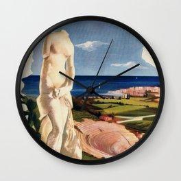 Siracusa Syracuse Italy vintage Italian travel Wall Clock