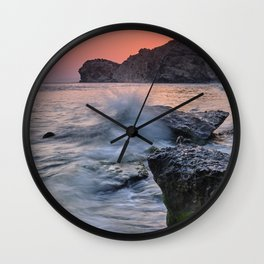 Big Wave. La Joya Beach At Sunset. Wall Clock