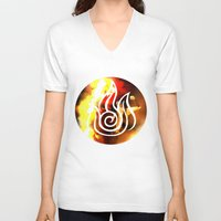 zuko V-neck T-shirts featuring prince of the flame by Jon Holloway