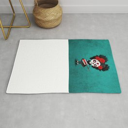 Day of the Dead Girl Playing Costa Rican Flag Guitar Rug