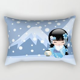 Japanese Winter Kokeshi Doll at Blue Mountain Rectangular Pillow