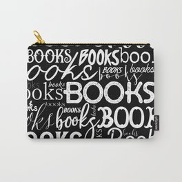Books Books Books - White on Black Carry-All Pouch
