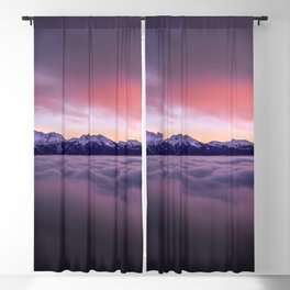 High Altitude Ice Covered Mountain Range Magenta Tint High Resolution Blackout Curtain
