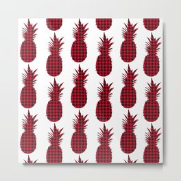 Red Plaid Pineapple Pattern Metal Print