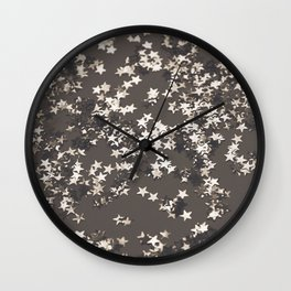 Sepia Night Glitter Stars #1 #shiny #decor #art #society6 Wall Clock