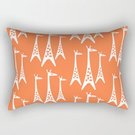 Mid Century Modern Giraffe Pattern 221 Orange Rectangular Pillow