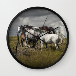 Western Horses by the Pasture Fence under a Cloudy Sky in Montana Wall Clock