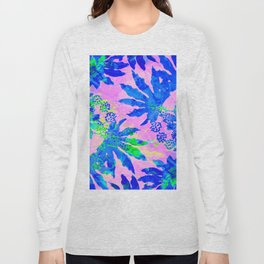 Tropical Adventure - Neon Blue, Pink and Green #tropical #homedecor Long Sleeve T-shirt