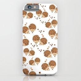 Hedgehogs in autumn iPhone Case