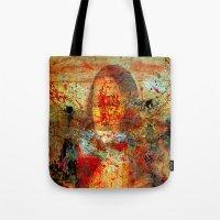 da vinci Tote Bags featuring Leonardo da Vinci Abstract  by  Agostino Lo Coco