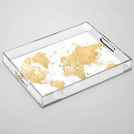 Gold world map with cities Acrylic Tray