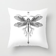 Dragon Fly Tattoo Black and White Throw Pillow