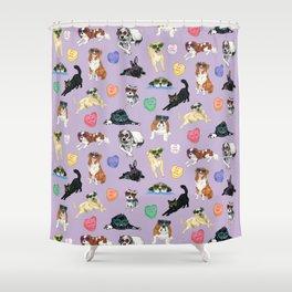 Valentine's Day Candy Hearts Puppy Love - Purple Shower Curtain