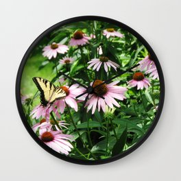 flower and butterfly Wall Clock