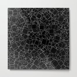 Cubic B&W inverted / Lineart texture of 3D cubes Metal Print