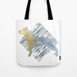 Modern American Staffordshire Terrier Dog Watercolor Stripes Tote Bag
