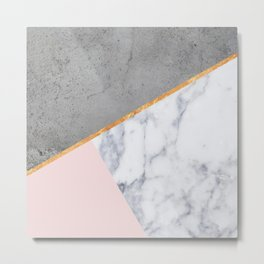 Marble Blush Gold gray Geometric Metal Print