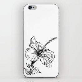 Hibiscus Ink Drawing iPhone Skin