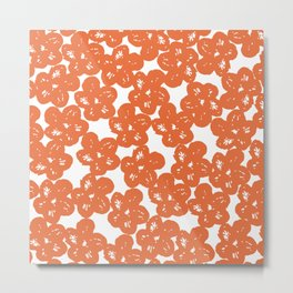 Orange Florals Metal Print