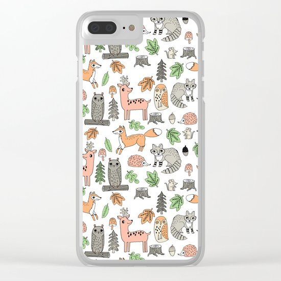 Woodland foxes rabbits deer owls forest animals cute pattern by andrea lauren Clear iPhone Case