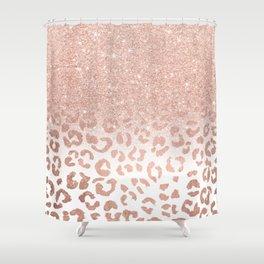 Trendy modern faux rose gold glitter ombre leopard pattern Shower Curtain