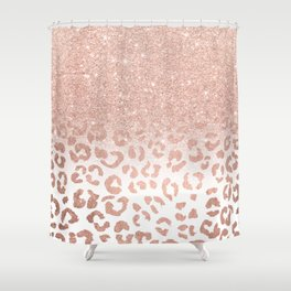 Trendy modern faux rose gold glitter ombre leopard pattern Shower Curtain