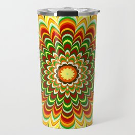 Colorful flower striped mandala Travel Mug
