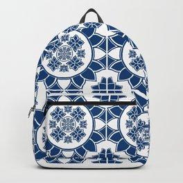 Tiled Blue Bloom Backpack