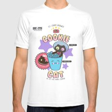 Cookie Cat Mens Fitted Tee X-LARGE White