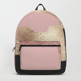 Rose Gold Glitter Black Pink Abstract Girly Art Backpack