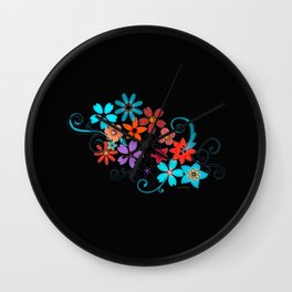 Colorful Flowers on black background Wall Clock