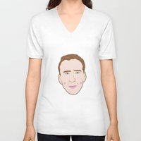 nicolas cage V-neck T-shirts featuring Nicole Cage by Ted Deacey
