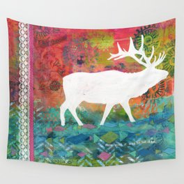 How Wild It Was Elk Collage Wall Tapestry
