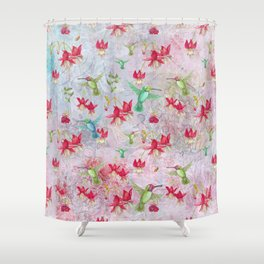 Vintage Watercolor hummingbird and Fuchsia Flowers on pink Background Shower Curtain
