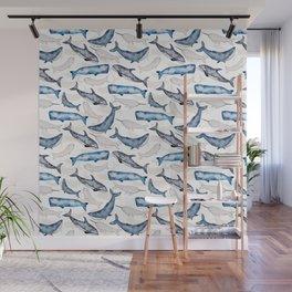 Ocean whales in watercolor Wall Mural