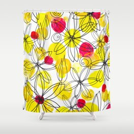 Pineapple Upside Down Floral: Bright Paint Spots with Black Ink Floral Elements Shower Curtain