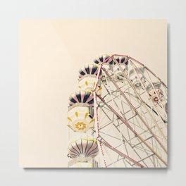 Blue Ferris Wheel on Cream Sky Metal Print