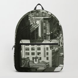 Fifth Avenue, New York City, B&W, high angle view 1950s vintage photo Backpack