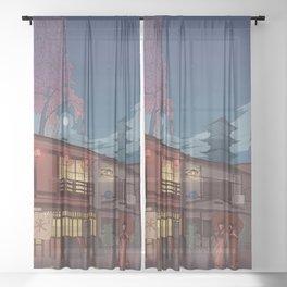 Kyoto at night Sheer Curtain