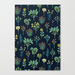 Navy Blue, Mint Green, Turquoise, Coral & Lime Floral Pattern Canvas Print