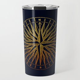 The golden compass- maritime print with gold ornament Travel Mug