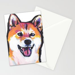 Shiba Inu Fun Dog Portrait bright colorful Pop Art Paintng by LEA Stationery Cards