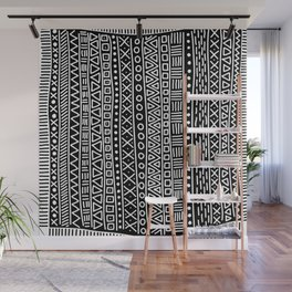 Black white hand painted geometrical aztec pattern Wall Mural
