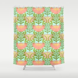 King Protea Flower Pattern - Turquoise Shower Curtain